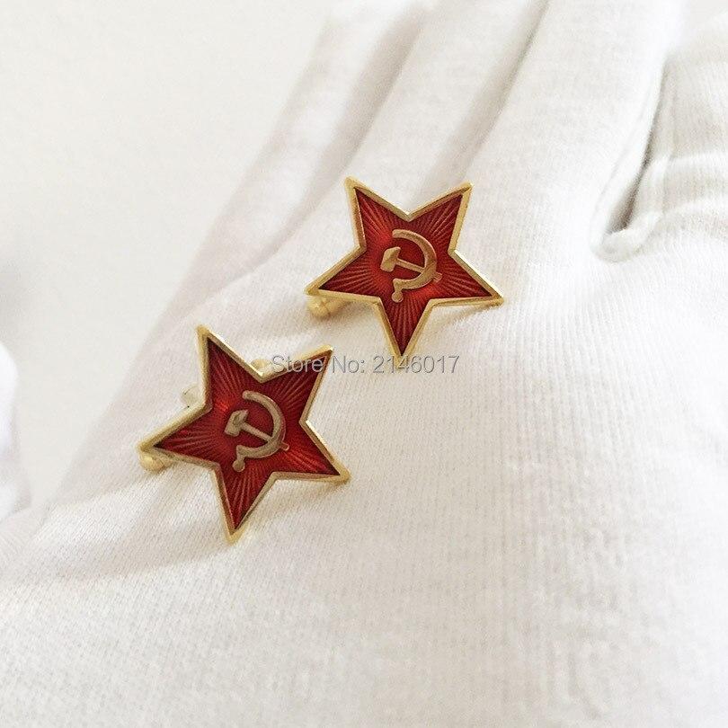 أزرار أكمام مخصصة من الاتحاد السوفيتي والاتحاد السوفياتي ، تذكار الحرب الباردة ، شعار منجل المطرقة الحمراء ، 100 زوجًا ، بالجملة