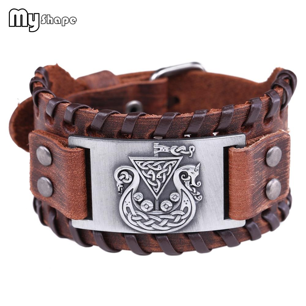 My Shape Ce ltic Symbol Bracelets Viking Bangles Hidden Dragon Irish Knot Amulet Wide Braided Genuine Leather Bracelet Men