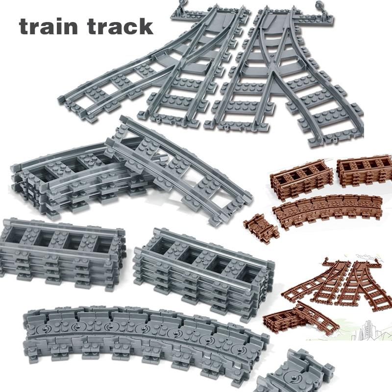 Trem Faixa interruptor Plástico Rail Track Legião Straight & Curvo compatível 60238 60205 bloco de Construção Tijolos Peças infantis brinquedos kit