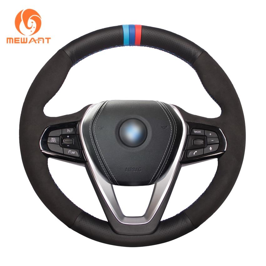 MEWANT черного цвета из натуральной кожи и замши чехол рулевого колеса автомобиля для BMW G20 G21 G30 G31 G32 X3 G01 X4 G02 X5 G05 X7 G07 Z4 G29