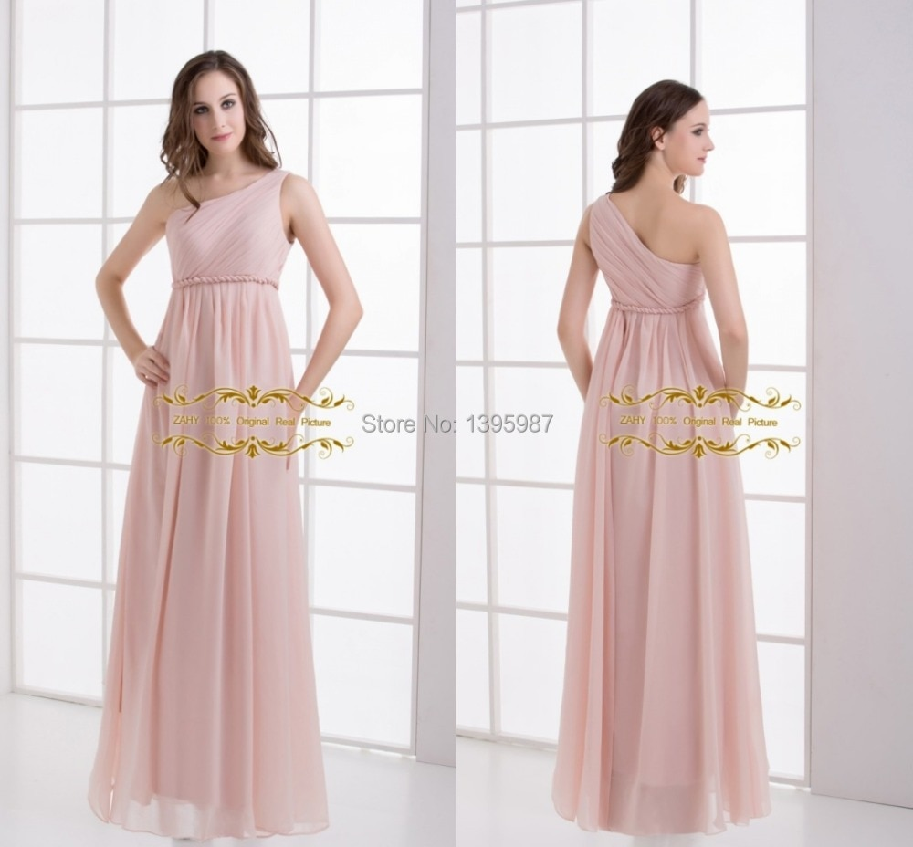 Light Pink Floor-Length Chiffon One-shoulder bridesmaid Dresses 2015 Floor-Length A-Line Maid of Honor Gowns High quality J002