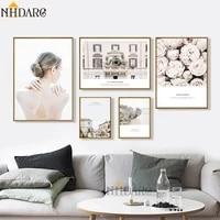 Affiches et imprimes toile Art nordique rose clair   Decor de la serie decor  decoration murale douce  tableau de peinture pour le salon  decoration de la maison