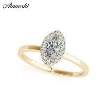 925 argent Sterling femmes anneaux or jaune couleur Marquise Halo bague de fiançailles anillos de plata fille fête bijoux