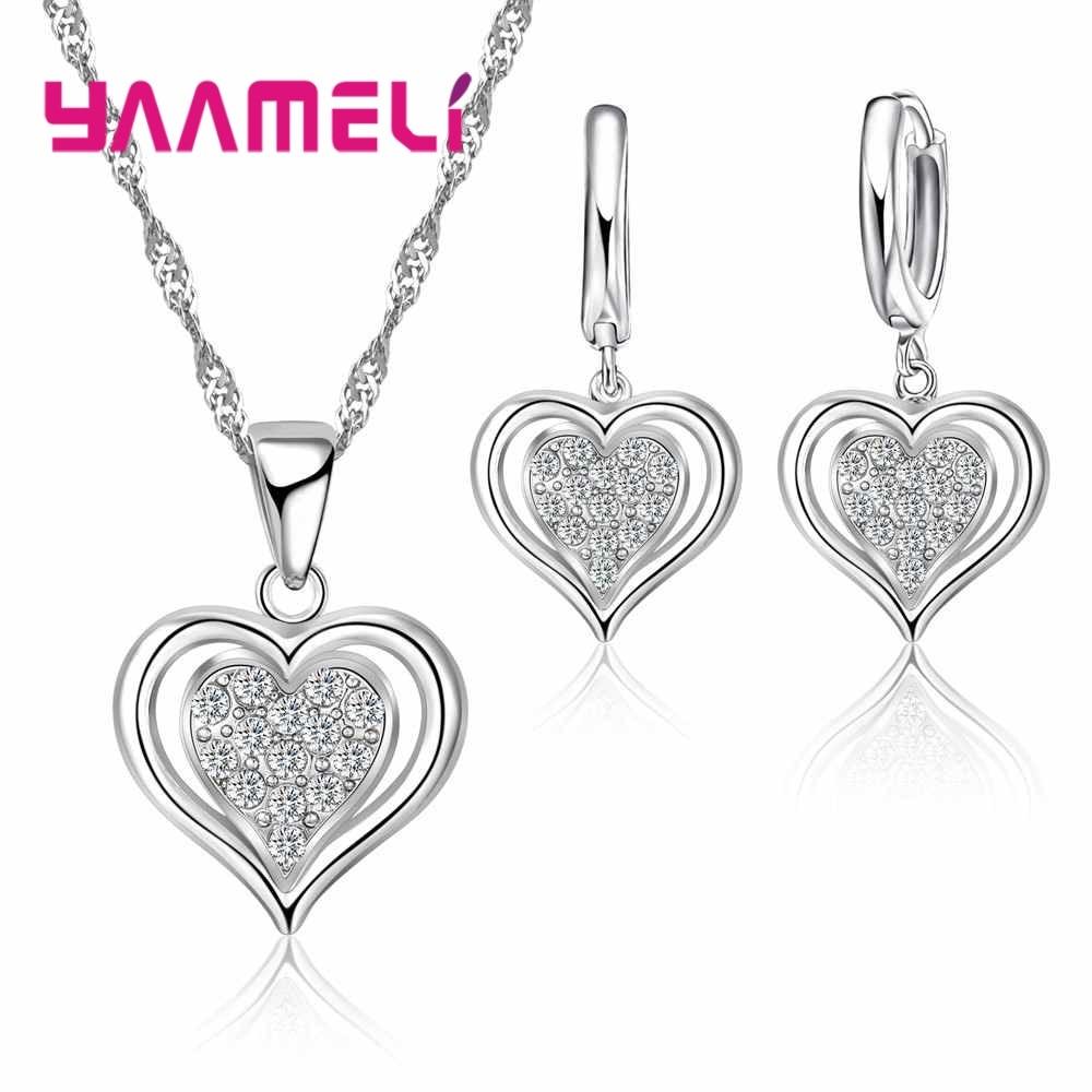 Ожерелье из Европы, серьги, набор, простой стиль, двойная форма любви, Рождественский сюрприз, подарок для женщин, Стерлинговое Серебро 925 пр... серьги раухтопаз огранка серебро 925 пр