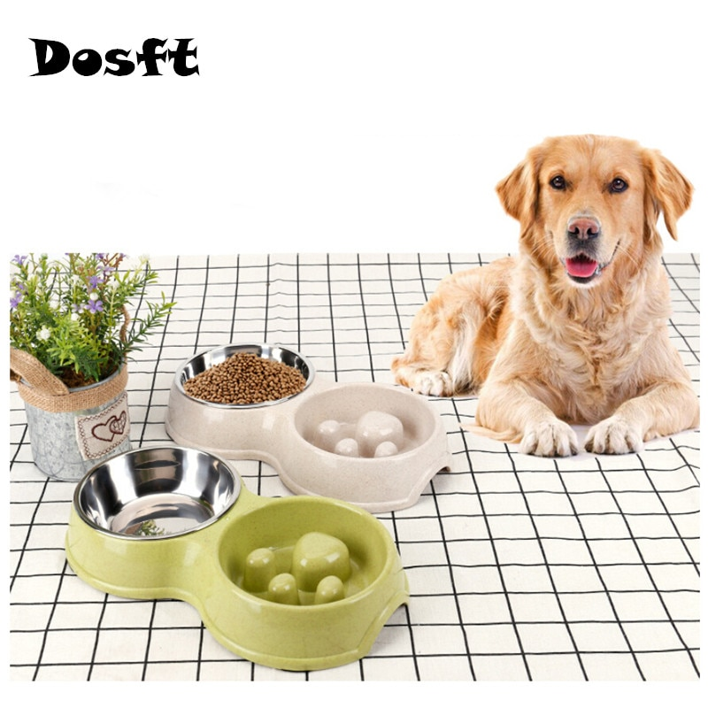 Pet Dog Feeding Food Bowls Plastic Double Non-slip Pet Bowl Puppy Slow Down Eating Feeder Dish Bowel Healthy Slow Food Feeder