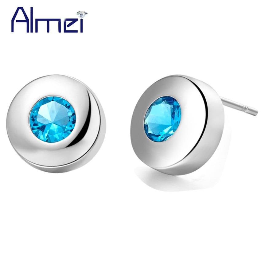 Pendientes de tuerca Almei, pendientes de color plateado, azul, piedras Rojas, pendientes de circón para mujeres y niñas, joyas de bisutería, compras en línea, India R706