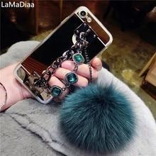 LaMaDiaa pour Samsung S6 S7 S8 S9 S10 S20 Plus Note 5 8 9 10 luxe mignon boule de fourrure doux miroir couverture arrière gemme Bracelet étui de téléphone