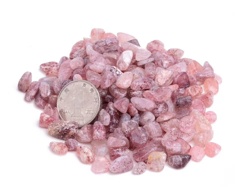 ¡100g Fresa Natural Punta de cristal de cuarzo curativa piedra para tanque de peces!