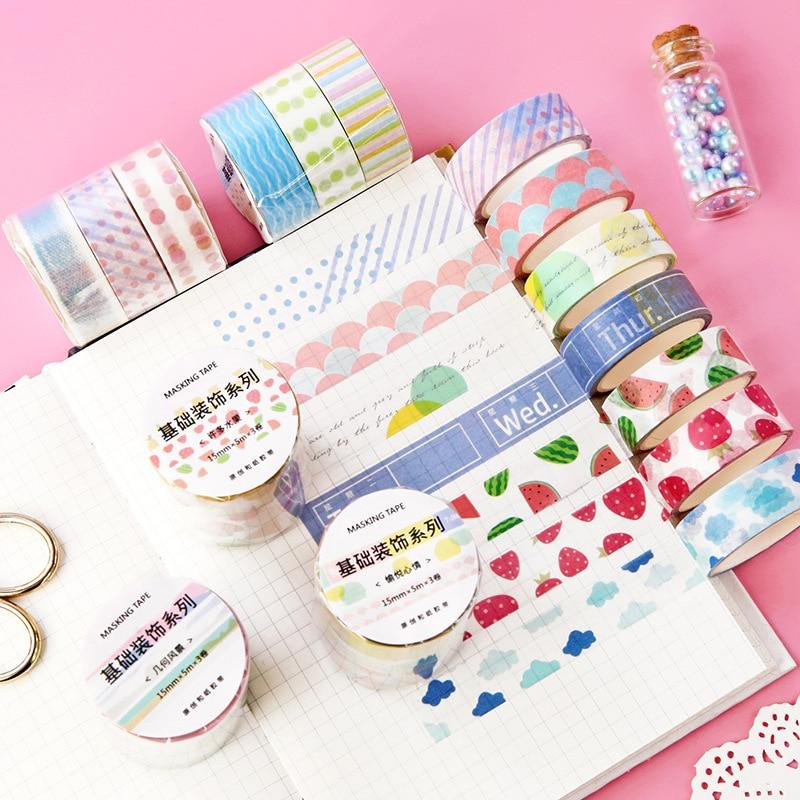3 pcs/pack Colorful Daily Lattice Fruit Decorative Washi Tape Set DIY Scrapbooking Masking Craft Tape School Office Supply
