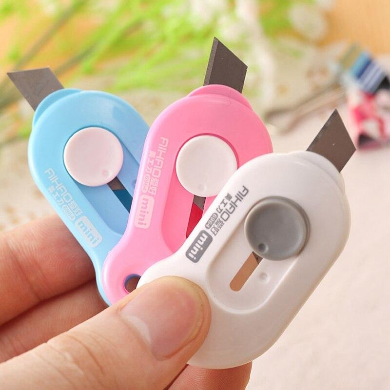 Nette Farbe Mini Tragbare Utility Messer Papier Cutter Schneiden Papier Rasierklinge Büro Schreibwaren