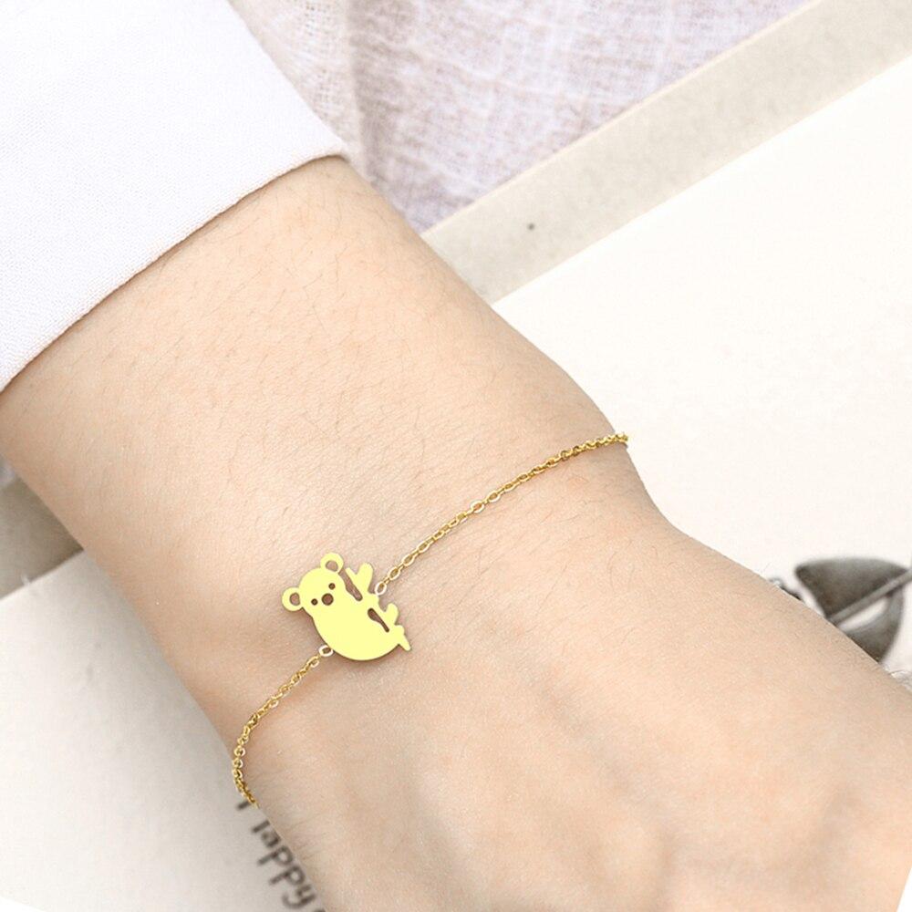 PUN stainless steel bracelet ladies friendship koala bracelet female accessories jewelry charm chain link bracelet charm female