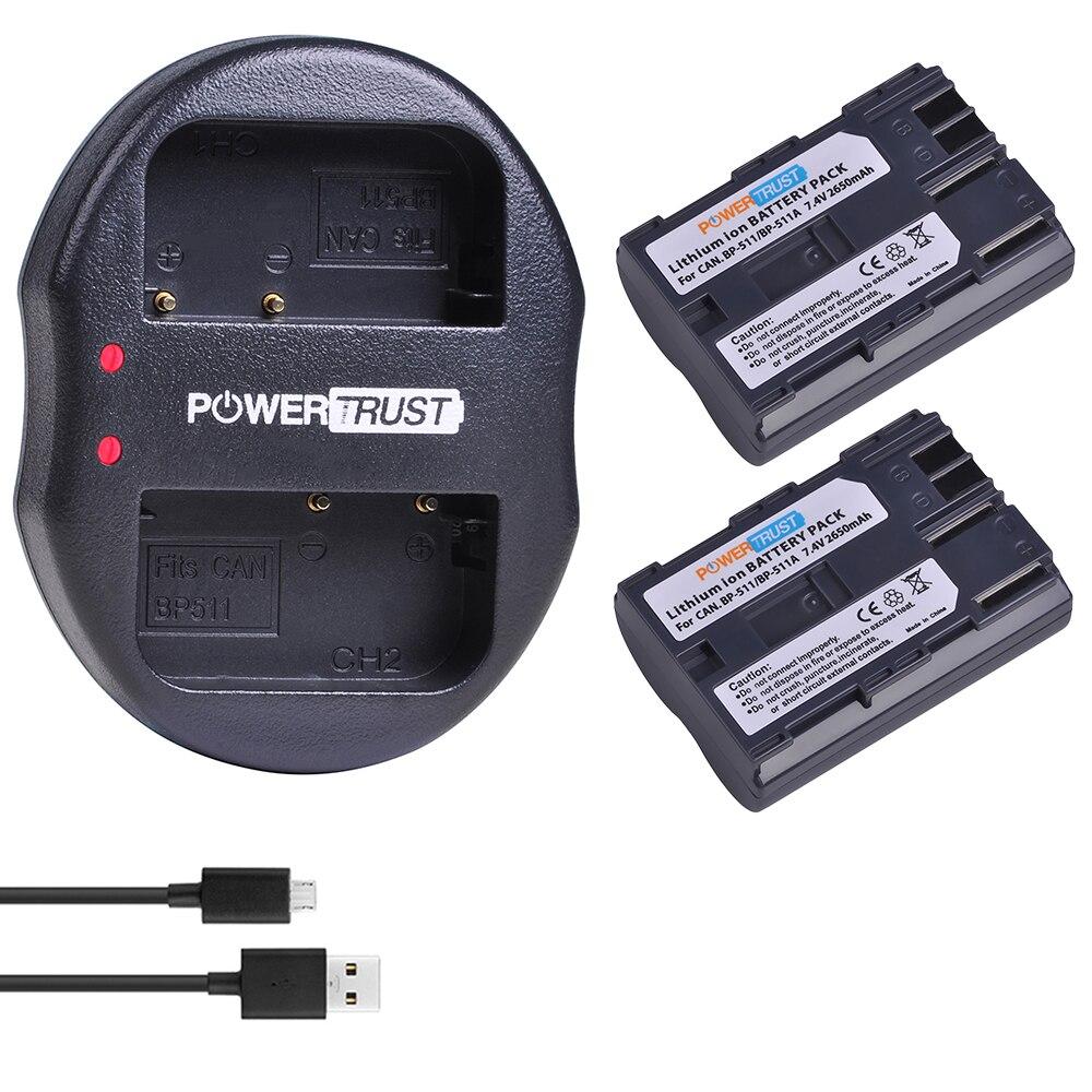 2Pcs 2650mAh BP-511 BP 511 BP511 BP511A batería de Li-Ion + cargador USB Dual para Canon G6 G5 G3 G2 G1 EOS 300D 50D 40D 30D 20D 5D