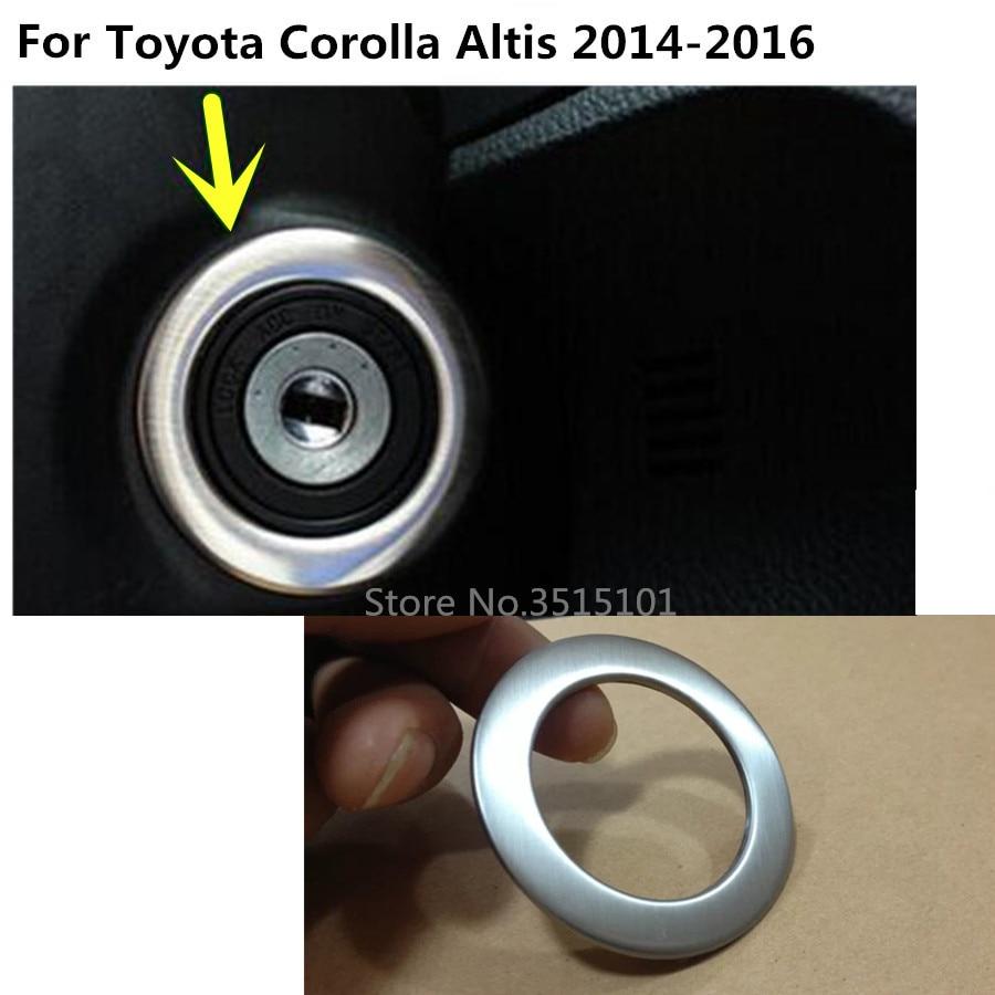 Marco de anillo de botón de arranque de motor de arranque de llave de lámpara de acero inoxidable de coche para toyota Corolla Altis 2014 2015 2016