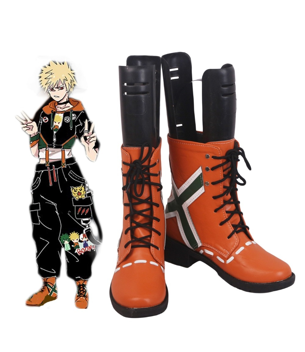 O meu Herói Academia Kacchan Katsuki Bakugo Laranja Cosplay Botas Sapatos nenhum Herói Academia Boku Cosplay Custom Made