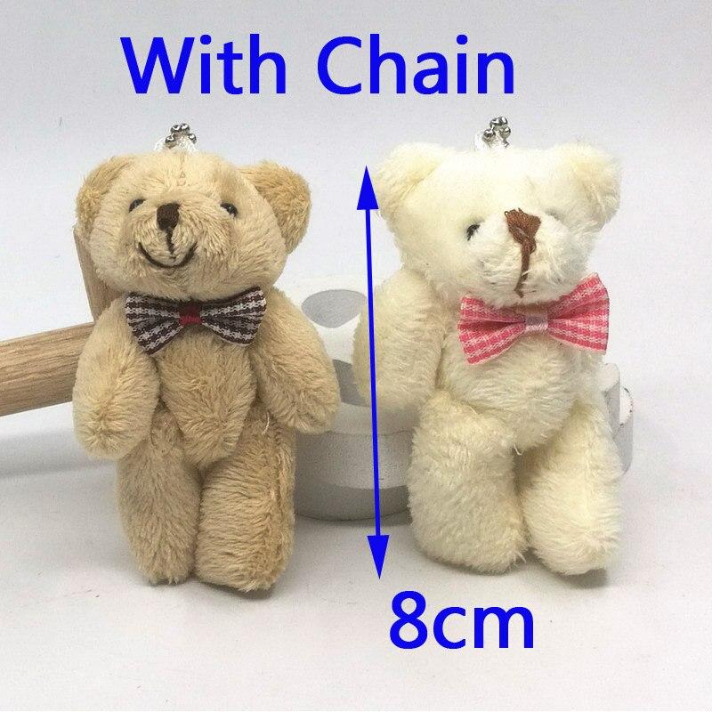 20 pçs 8cm alta pequena junção ursos de pelúcia pelúcia chaveiro brinquedos mini pelúcia ursos chaveiro animais buquês decoração pingente