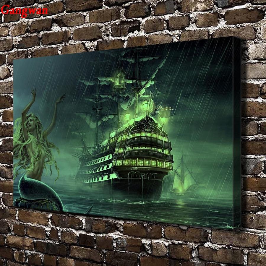 5d diy pintura de diamante Barco de punto de cruz kit de bordado de diamante redondo cuadrado completo mosaico sexy sirena piratas barco decoración del hogar
