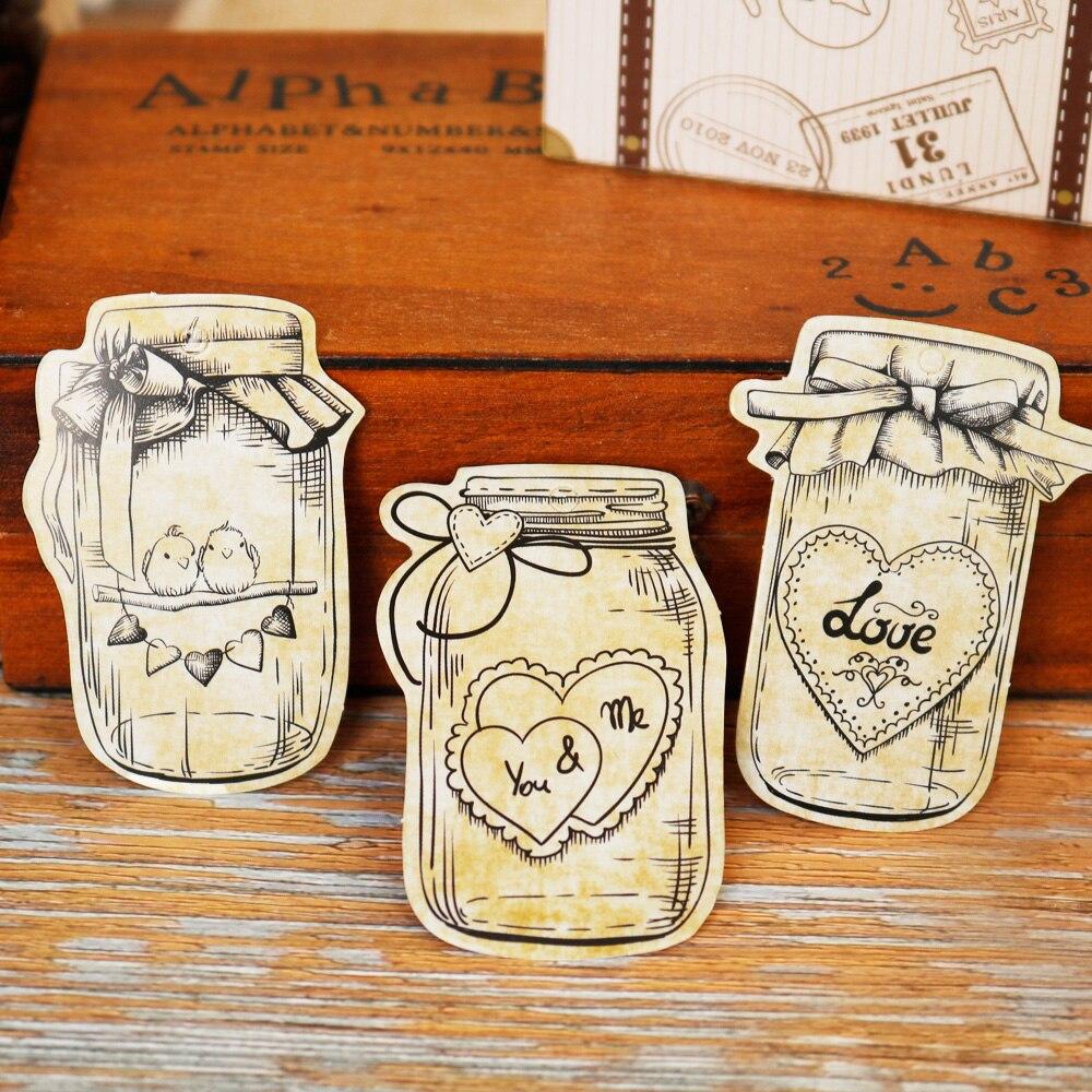 50 Uds., etiquetas de papel para regalo en forma de botella, tarro Mason, etiquetas colgantes, amor, corazón, decoración para fiesta de boda, etiquetas de etiqueta artesanal hechas a mano
