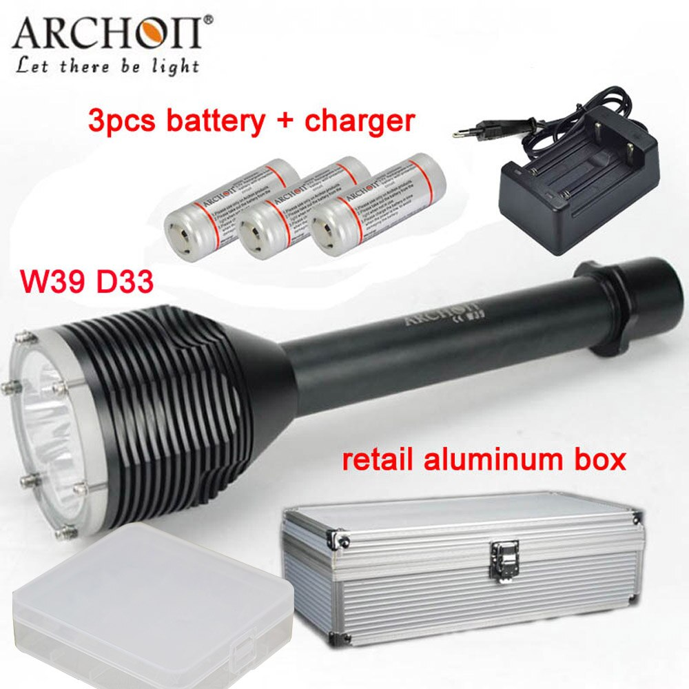 ARCHON D33 W39 luz DE BUCEO 3 * XM-L2 U2 LED 3000LM 100M linterna de fotografía submarina con baterías + cargador + caja de aluminio