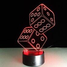 Créatif 3D lampe LED USB magicien décoration TEXAS tenir dés Poker pique cartes à jouer 7 couleurs changeantes veilleuse cadeaux de noël