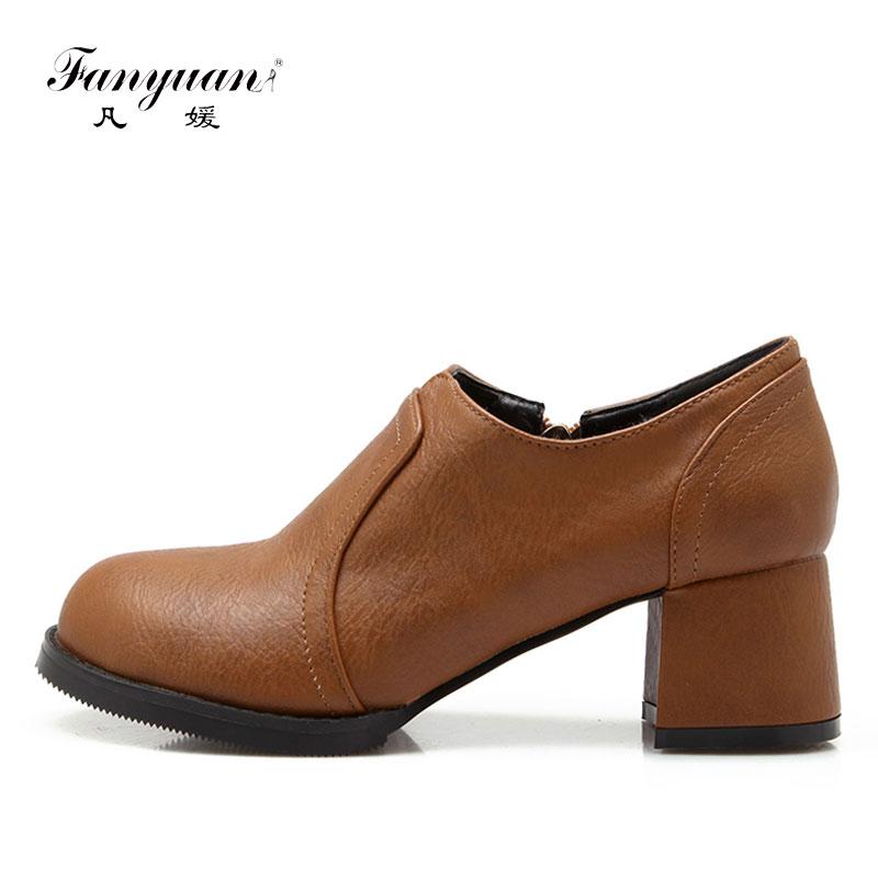 Zapatos de tacón Fanyuan para mujer, estilo británico, Vintage, sólido, zapatos de tacón alto, informales, tacones gruesos, zapatos de tobillo para mujer, negro y gris