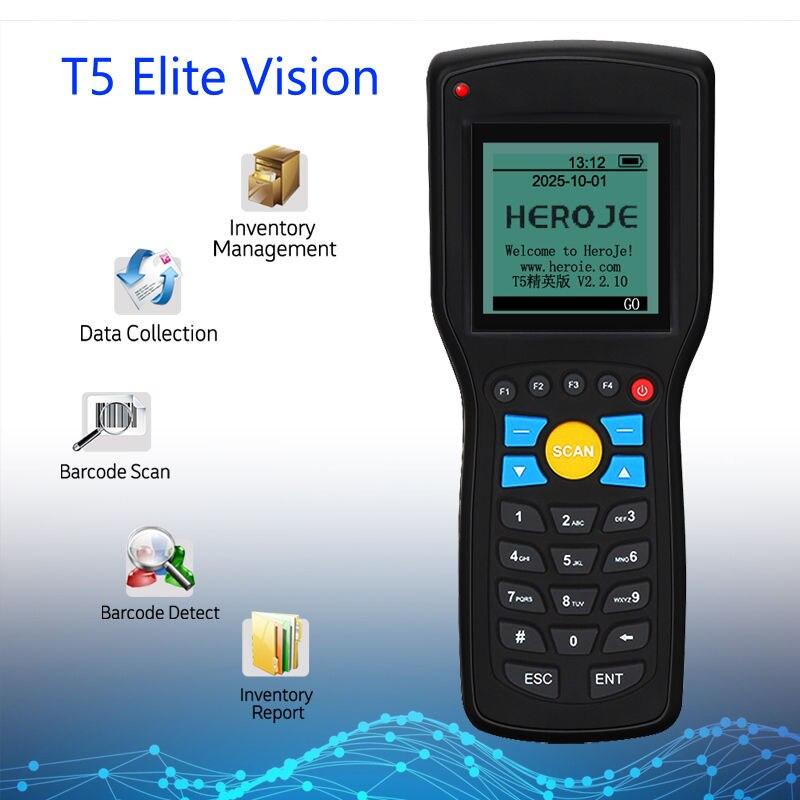 Heroje T5 Elite Vision اللاسلكية 433MHz 1D الباركود الماسح الضوئي جامع البيانات إدارة المخزون EAN13 1D مع محرك البحث