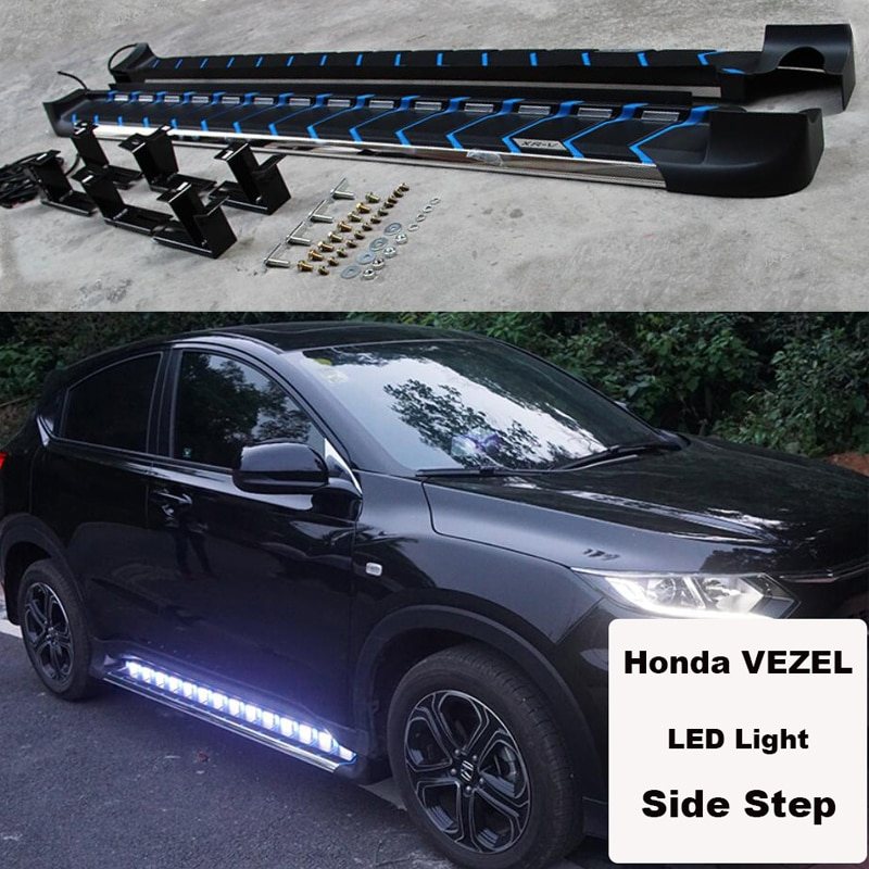 For Honda VEZEL HRV 2014.2015.2016.2017 Car Running Boards Side Step Bar Pedals High Quality Brand New LED Light Style Nerf Bars