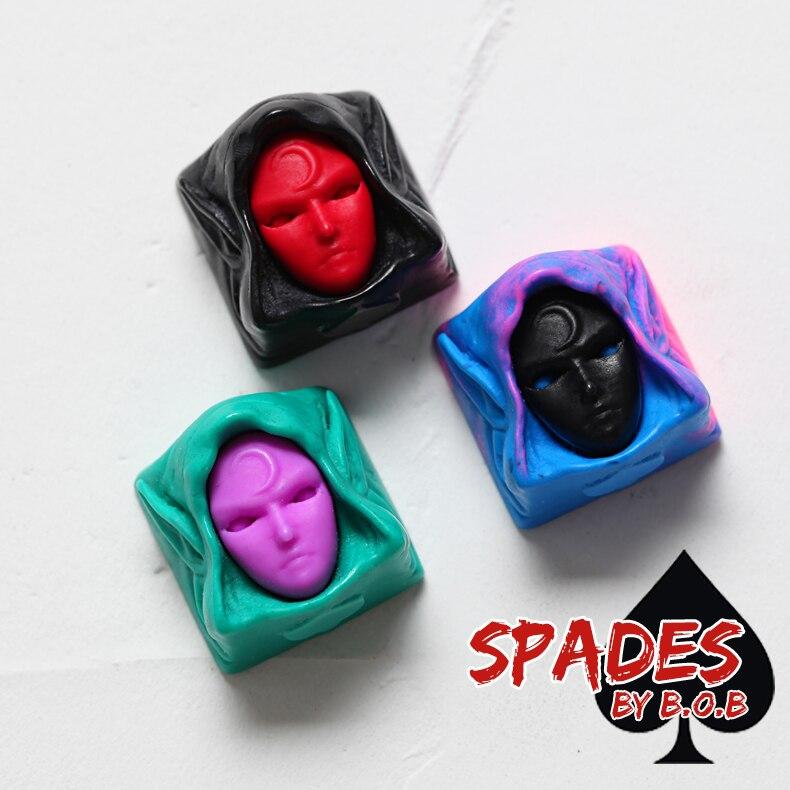 Groupbuy, Envío Gratis, BoB Spades, llaveros artesanales de resina negro rojo púrpura azul, novedad para teclados mecánicos personalizados