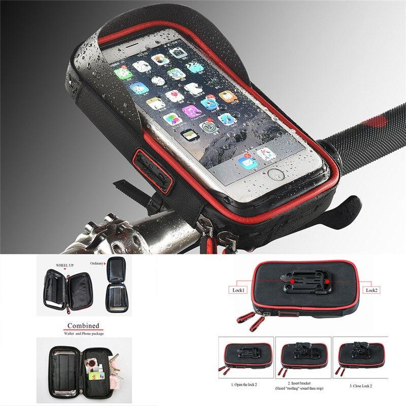 Para teléfono y GPS nylon impermeable motocicleta manillar sombrilla soporte montaje cartera funda