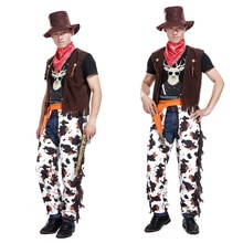 Halloween mascarade costume cosplay adulte cowboy scène costumes parents installés