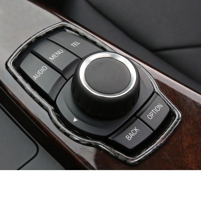 lsrtw2017 carbon fiber car media button frame trims for mw f30 f31 f34 f32 2013-2018 2017 2016 2015 320 420 330 318 328 335
