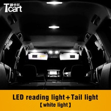 Tcart 6PCS T10 Led Interior Reading Lights Makeup Mirror Dome Bulb Accessories for Toyota land cruiser prado 150 2014 2015 2018
