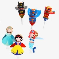 30 pcs princess lollipop card candy for kids mermaid super hero birthday party funny creative gift favor lollipop paper decor