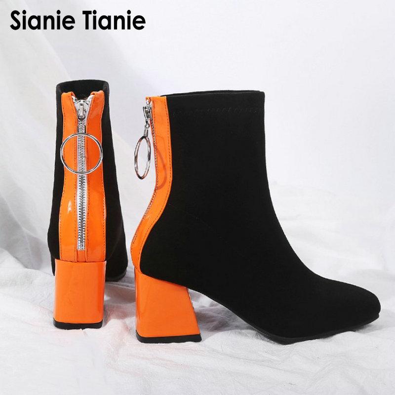 حذاء نسائي بكعب عالٍ بألوان متباينة ، حذاء نسائي من القماش المرن ، حذاء بكعب عالٍ باللونين البرتقالي والأسود ، مقاس 45 46