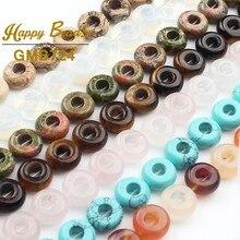4x10mm Agates naturelles Unakite Turquoises perles de pierre ronde grand trou perles lâche entretoise perle pour la fabrication de bijoux bricolage pendentif