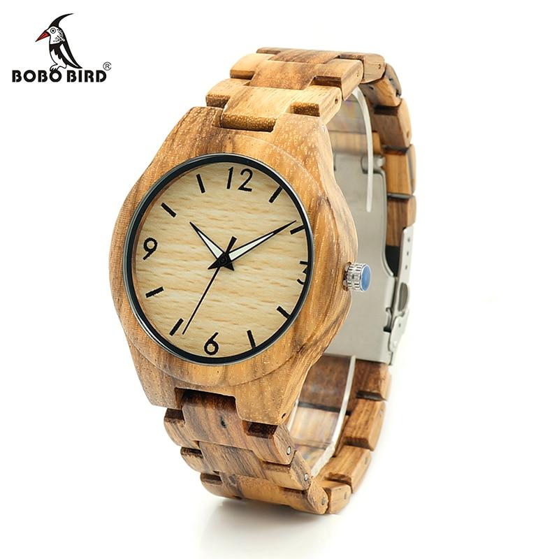 BOBO BIRD V-G24 Zebra Wooden Case Mens Wristwatch Male Design Causal Quartz Watch Wooden Strap Leather Strap Available