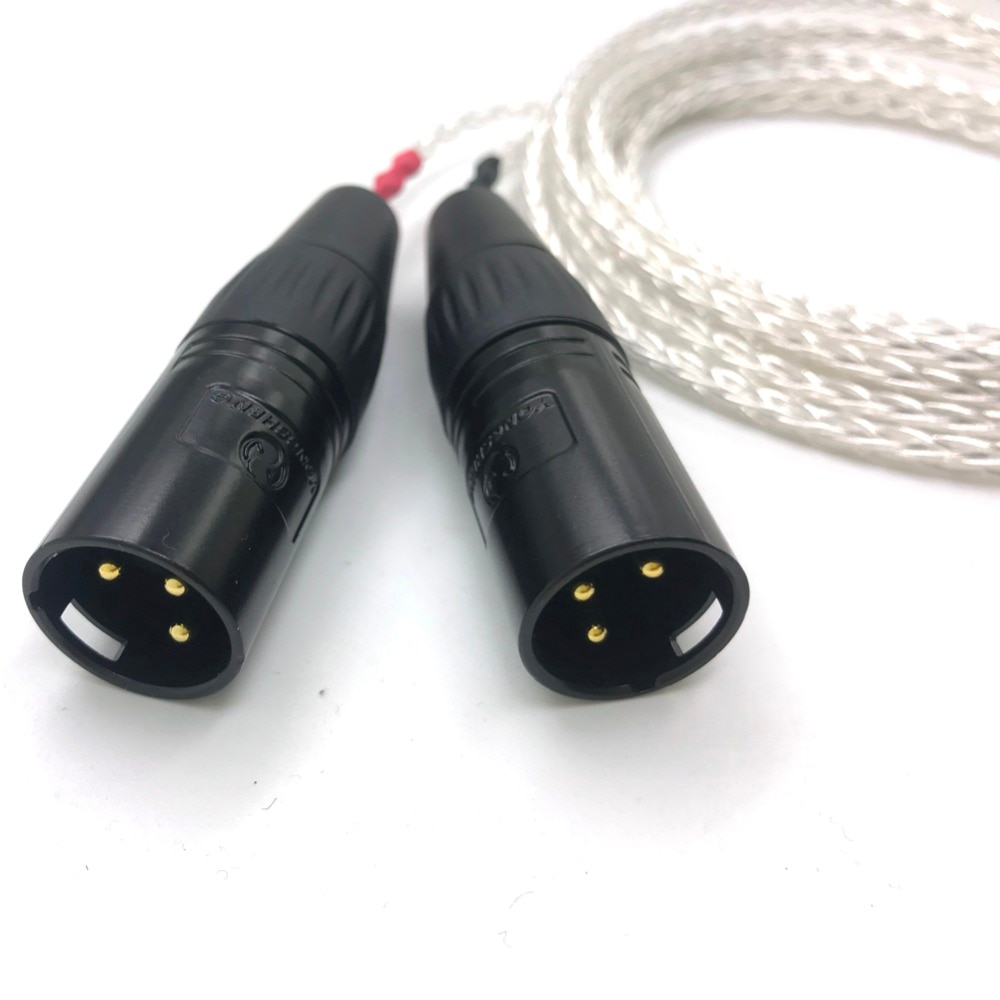 Free Shipping Haldane 8 Cores Silver Plated 4.4mm Balanced Female to Dual  2x 3pin XLR Balanced Male Audio Adapter Cable enlarge