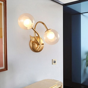 BEIAIDI Modern Glass Ball Bedroom Bedside Wall Lamp Hotel Cafe Loft Aisle Corridor Wall Light Bathroom Mirror Front Decor Lamp