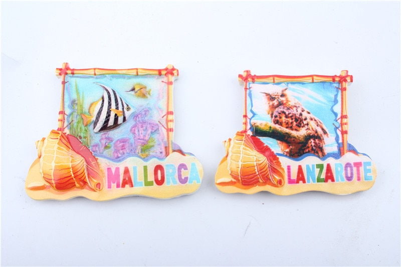 High Quality MALLORCA LANZAROTE Travel Souvenir 3D Resin Fridge Magnet Home Decoration Gift Promotion Hot Selling