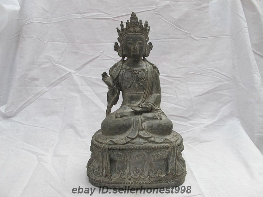 12 Tíbet Budismo Tibetano Bronce antiguo de Tara Blanca Kwan-yin Bodhisattva estatua 5.19