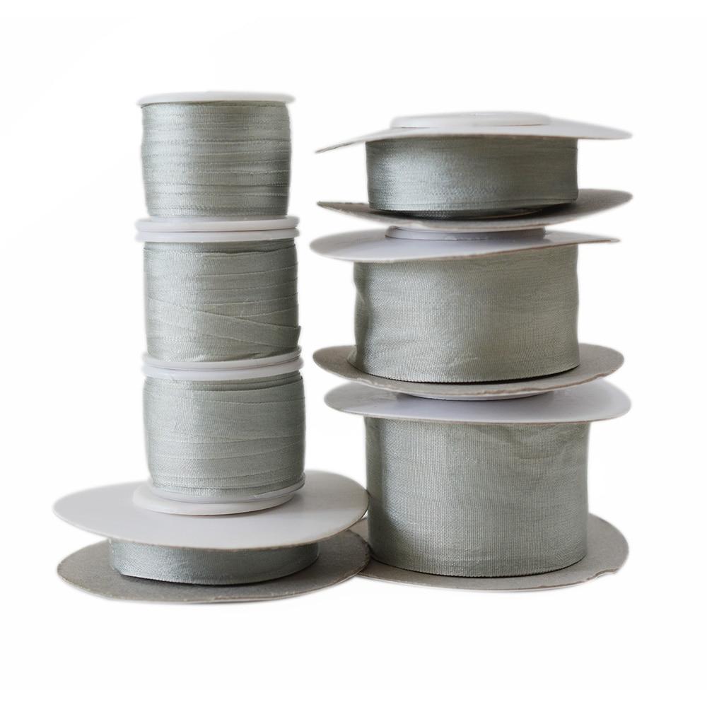 Cinta bordada de seda de morera pura de 100% gris 269, cinta de seda tafetán de doble cara 2-32mm (1/16-1 pulgada)