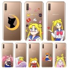 Telefon kılıfı silikon Samsung Galaxy A6 A8 artı 2018 Sailor Moon kedi yumuşak arka kapak Samsung A6 A7 A8 2018 a3 A5 2016 2017