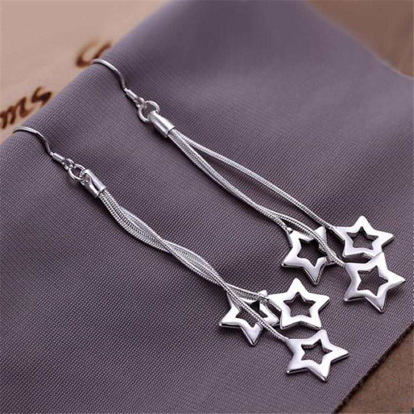 Модные украшения, красивые серьги серебряного цвета со звездочкой, супер доступный подарок на день рождения