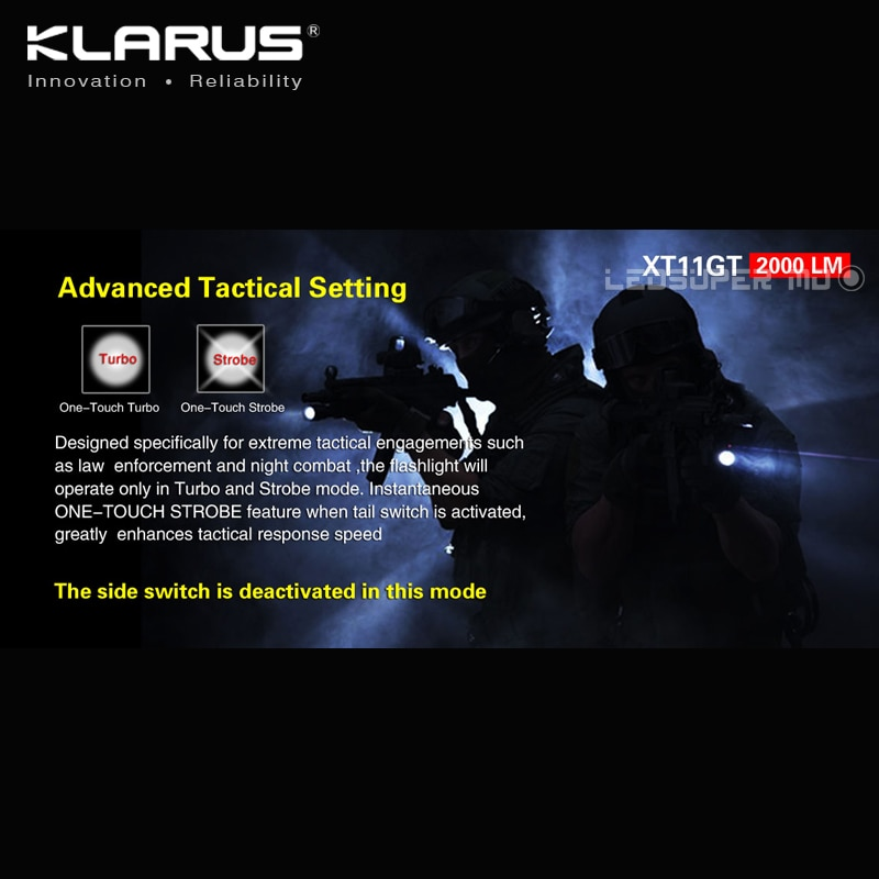 Hot New Product KLARUS XT11GT 2000 Lumens CREE XHP35 HD E4 LED Programmable Tactical Flashlight USB Charging with 18650 Battery enlarge