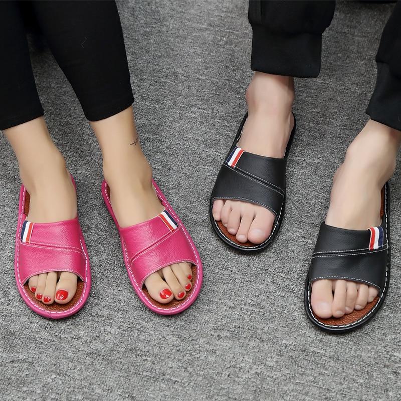 Amantes Chinelos de Couro genuíno Slip-resistente Sola Sandálias Chinelos Chão Home Indoor Casa Macio e Confortável