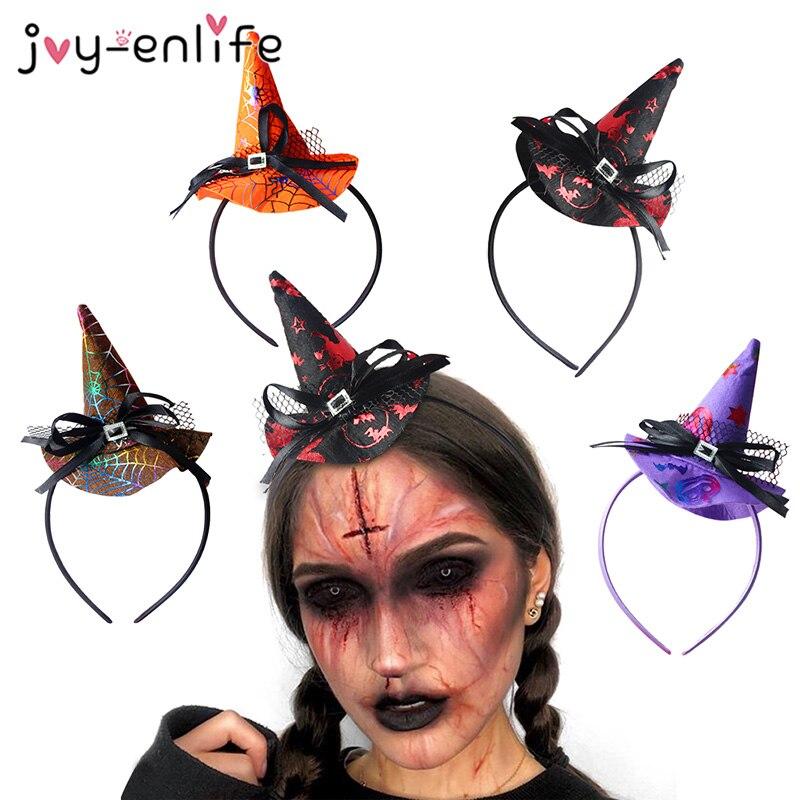 Decoración de Halloween telaraña bruja fantasma Bat sombrero diadema mujer fiesta de Halloween accesorios de cabello para Halloween máscara