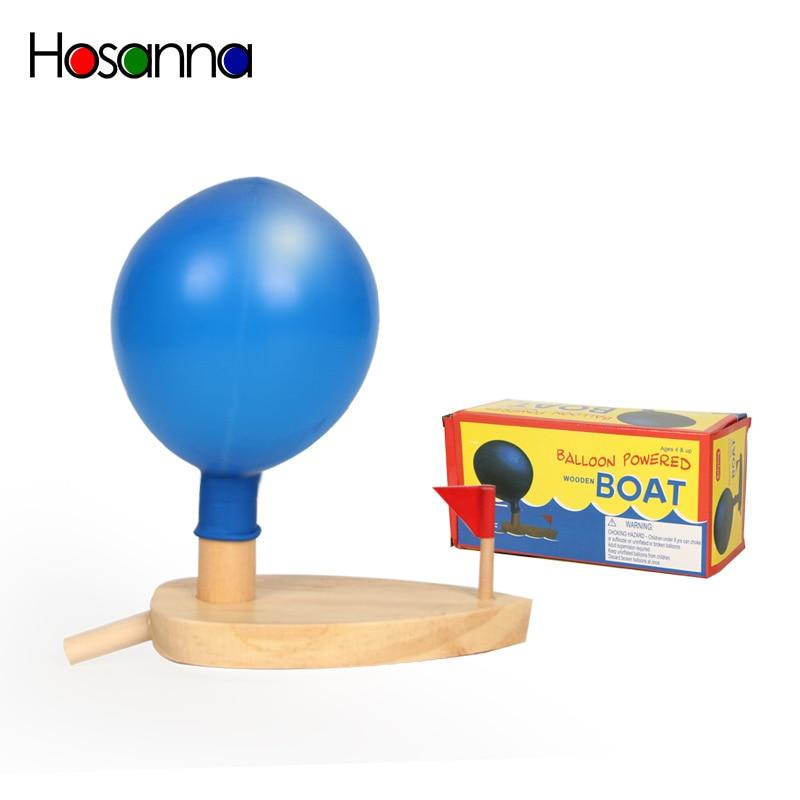 Детские игрушки для ванной, воздушный шар из дерева, с питанием от лодки, Обучающие Классические Обучающие Игрушки для раннего развития для детей