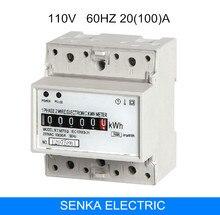 20 (100) 110 V 60 HZ 1P2L carril din analógico medidor kwh monitor de energía carril din simple instalación de registro watt medidor de horas aprobado por CE