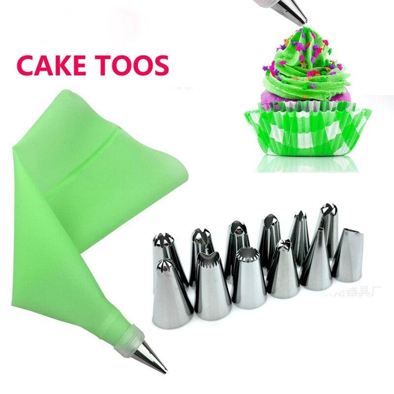 14 Uds. Accesorios de cocina de silicona para glaseado, bolsa de repostería rosa, boquilla de acero inoxidable Consejos para manualidades de decoración de pasteles