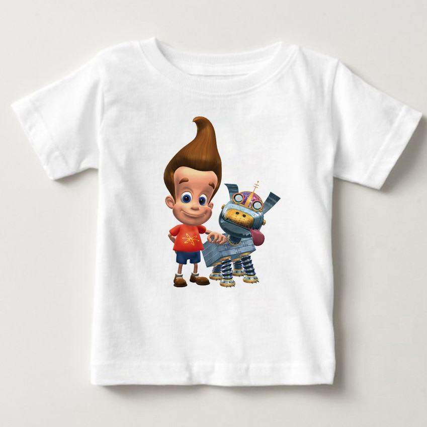 Summer printing Jimmy neutron favorite cartoon animations kids tops boy and girl Short sleeved shirt baby clothes MJ