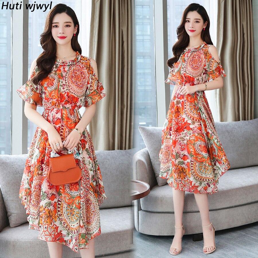 2020 Floral Chiffon Boho Midi Vestidos verano Vintage de talla grande playa fuera del hombro vestido de mujer ceñido al cuerpo elegantes Vestidos de fiesta